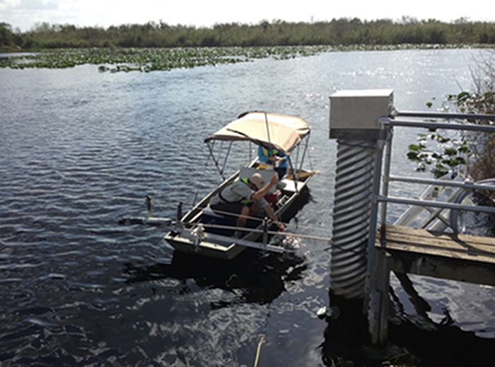 USGS CFWSC employees collecting water samples used to develop surrogate models for carbon and mercury concentrations