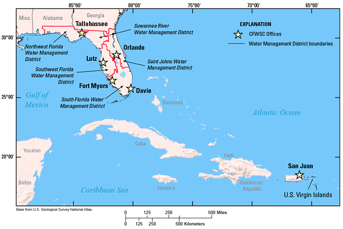 Locations of offices of the U.S. Geological Survey Caribbean-Florida Water Science Center