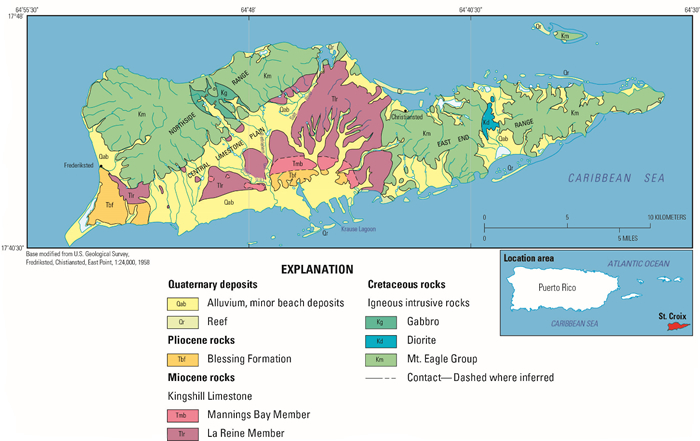 Geologic map and physiographic provinces of St. Croix, U.S. Virgin Islands